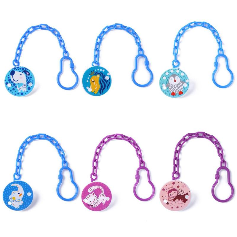 Baby Pacifiers Chain Safety Clamp Infant Nipple Hanging Clips Kids Cartoon Animal Printed Pacifier Leashes Soother Teether Clip