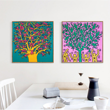 Keith Haring Wall Art Canvas Painting Yellow Tree And Monkeys For Living Room Print Posters Classic Pictures