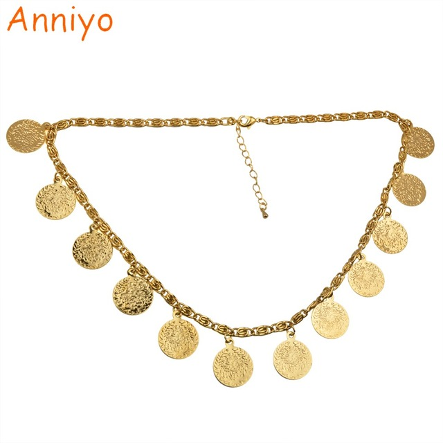 Anniyo 49cm Turkey Coin Necklaces For Womenarab Ethnic Metal Coins