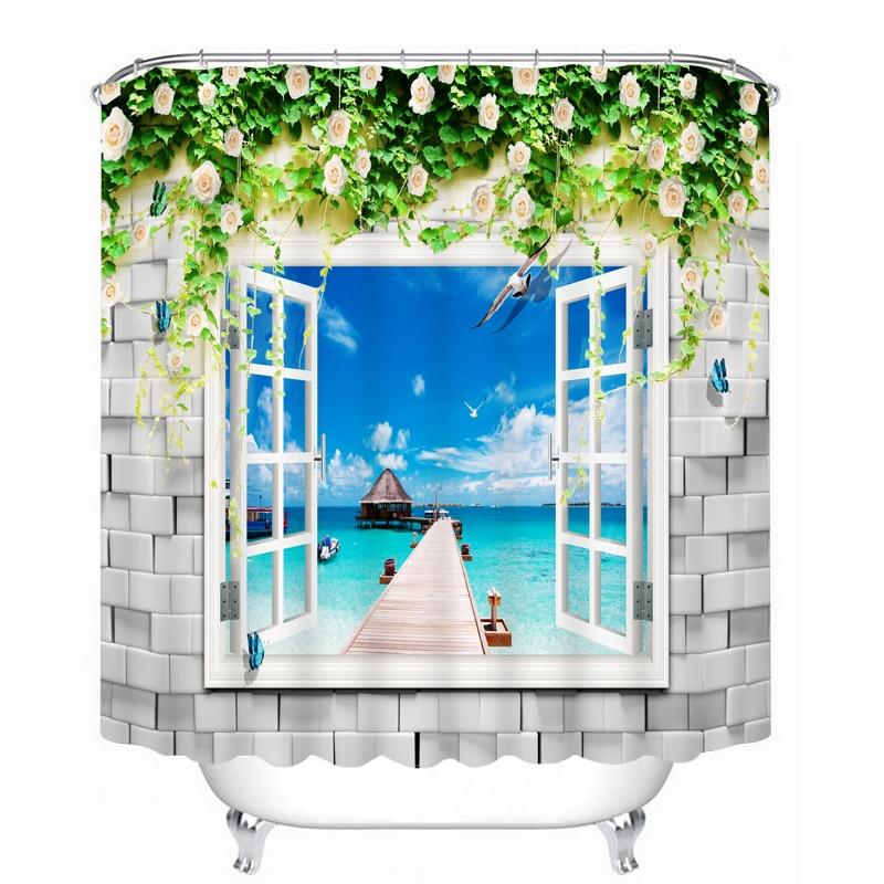 MYRU 3D Print Waterproof Window Shower Curtains Bath
