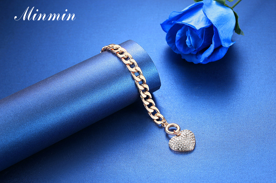 Minmin Lovely Silver/Gold-Color Strand Bracelets for Women Heart Crystal Pendant Chain Bracelets & Bangles Fashion Jewelry SL063 7