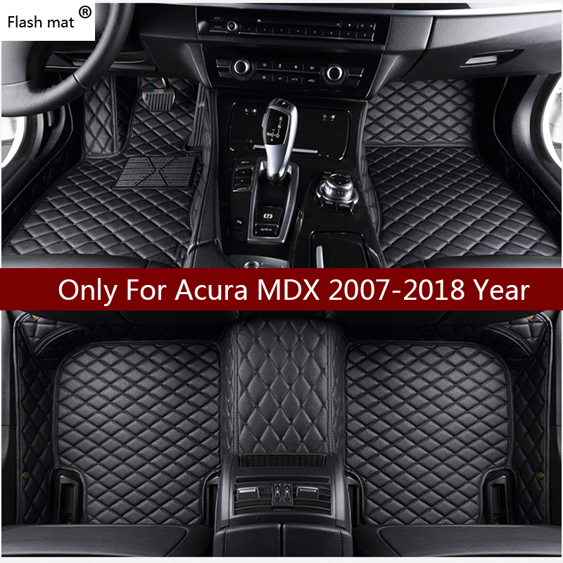 Flash mat leather car floor mats for Acura MDX 5 Seat and 7 Seat 2006 2007 2008-2018 Custom foot Pads automobile carpet covers цена 2017