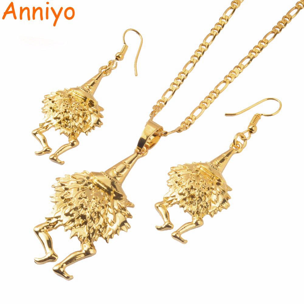 Anniyo Bird of Paradise Jewelry set Gold Color Necklaces & Earrings for Women,Papua New Guinea PNG Style Duk Duk Gifts #085506