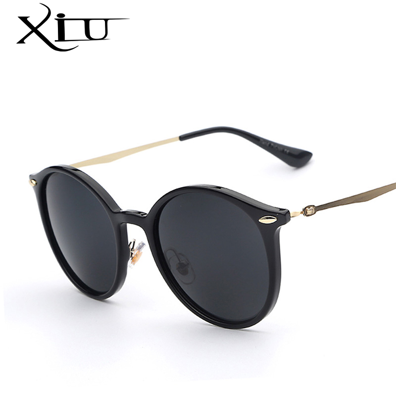 XIU 2017 New Sunglasses Women Brand Designer Round Circle Metal Temple Sun glasses Female Gafas Oculos De Sol Vintage