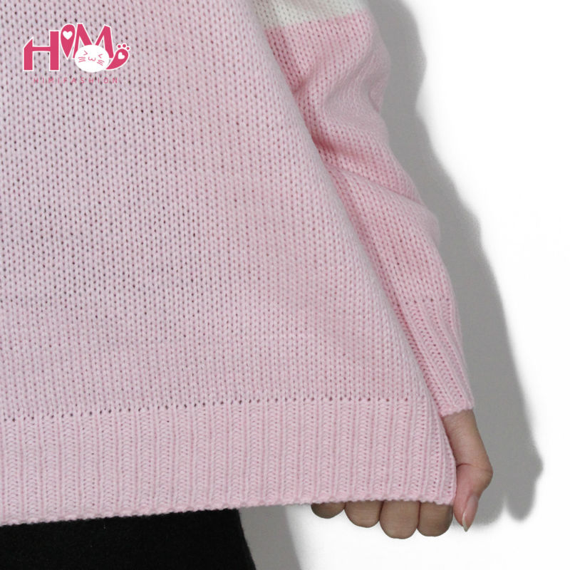 Baby Blue Baby Pink Knitted Sweater Winter Women Shirt Hot Korea Japanese Fashion  4