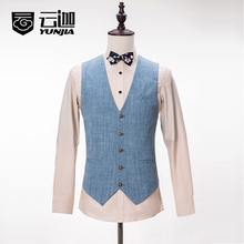 2017 Latest Coat Pant Designs Light Blue Linen Summer Suits for Men Tuxedo Formal Skinny Blazer Beach Custom 3 Piece Terno U3