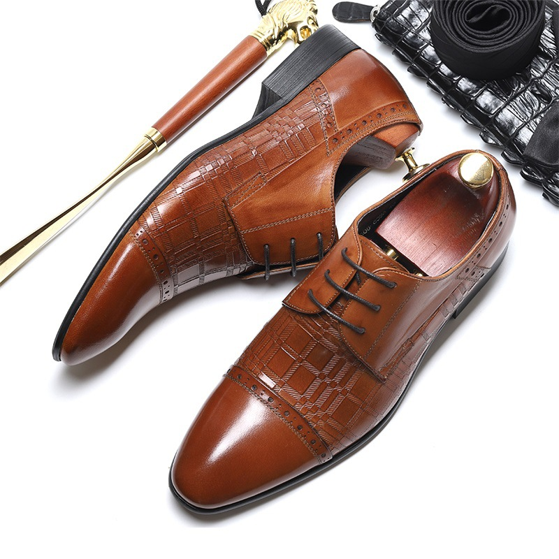 New fashion Dress shoes men spring and summer men's leather shoes men's low to help black tie business brogues fashion rabbit and grass pattern 10cm width wacky tie for men