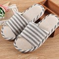 Hot Couple Women Men Linen Cotton Indoor Slipper Striped Fashion Antiskid Soft Breathable Summer Household Shoe Home Pantuflas