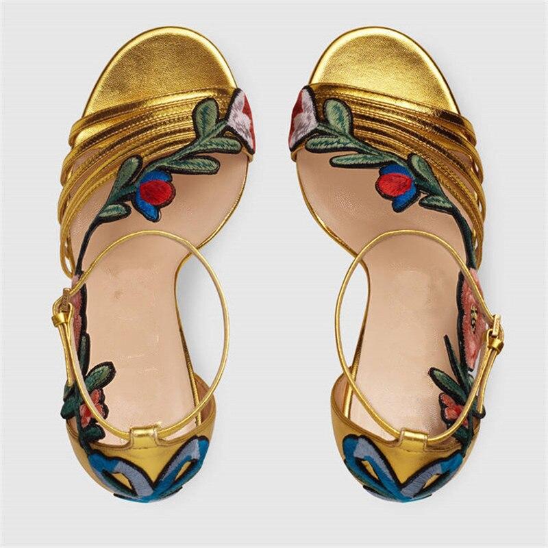 Soirée Femme Gold Grande Cheville Chaussures Souliers 33 44 Mince Femmes black À Prova Perfetto D'or Bande Boucle De Nouveau Talons Brodé Hauts Étroite Taille xUAUqaTwBC