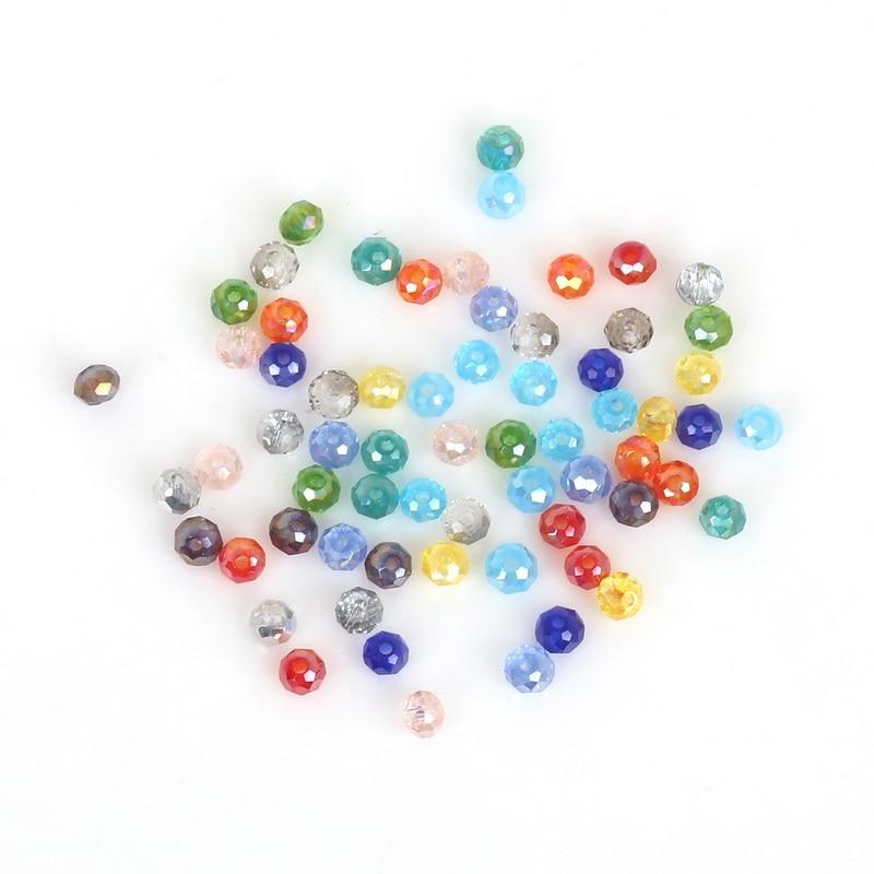 2 мм 3 мм 4 мм 6 мм 8 мм Rondelle Австрийские граненые Хрустальные стеклянные бусины Круглые свободные бусины для изготовления ювелирных изделий - Цвет: Random Color