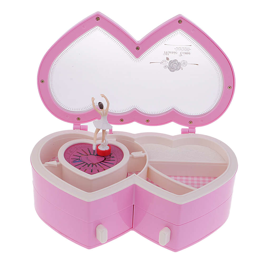 Double Heart Music Box Classical Hand Cranked Dancing Girl Jewel Case Box
