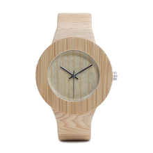 Bamboo Design Leather Quartz Watch for Women
