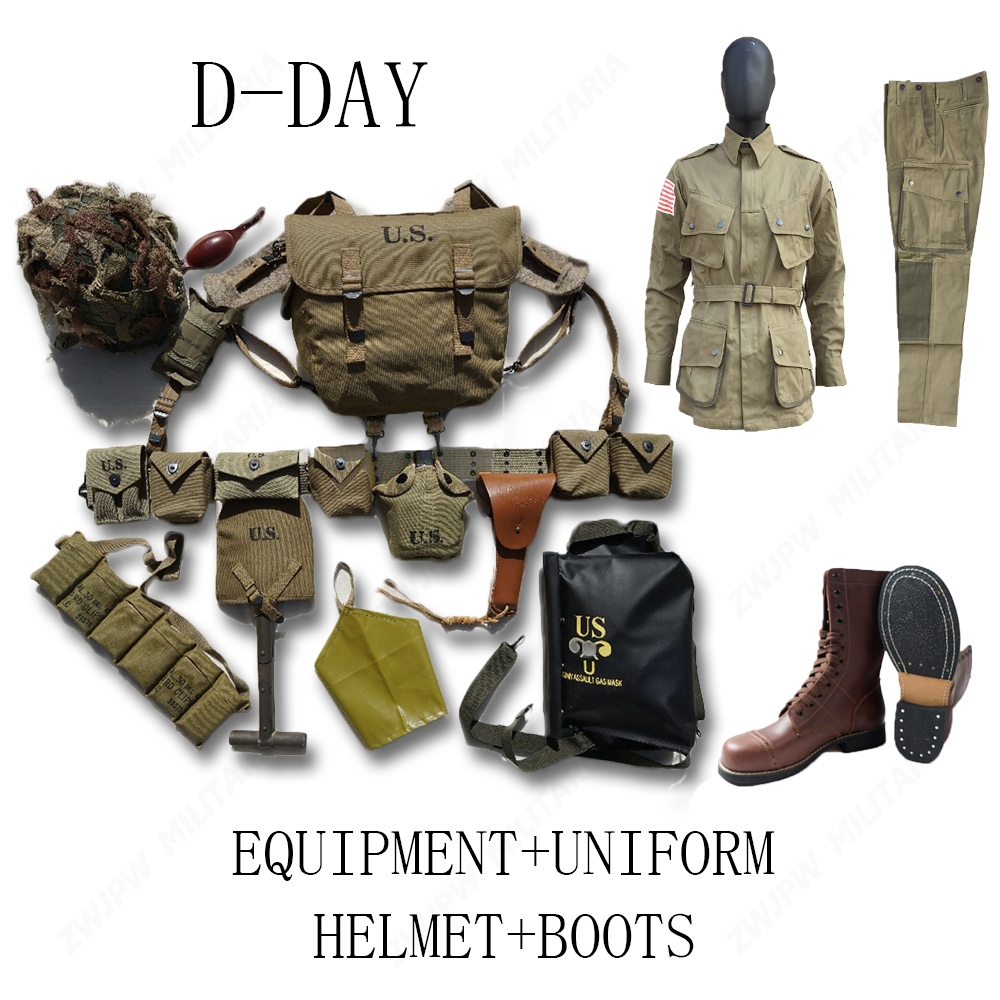 WW2 US AIRBORNE M1 EQUIPMENT CONBINATION D-DAY NORMANDY M36 ,M1911 M7 WITH 101 UNIFORM AND BOOTS airborne pollen allergy