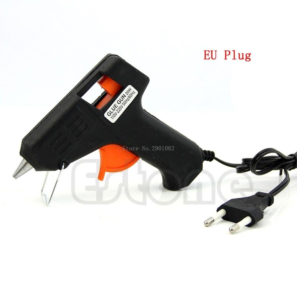 EU Plug  Art Craft Repair Tool 20W Electric Heating Hot Melt Glue Gun Sticks Trigger +6Pcs 7mm Hot Melt Glue Sticks -B119
