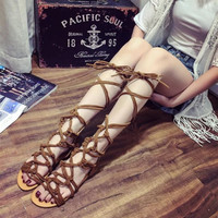 High Heels Sandals Women Shoes 2017 Gladiator Mature Cover Heel Summer Shoes Large Size 35 43