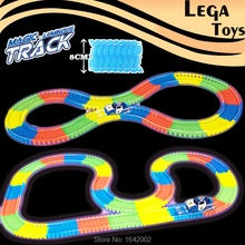 Flashing Enter Luminous Flexible glow electric race track Bend Glow in the Dark LED Light Assembly Educational Toy for children
