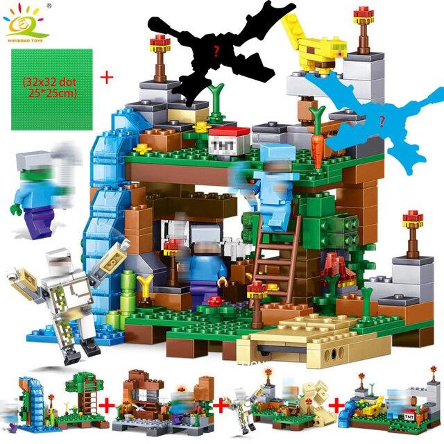 378 pcs 4 em 1 Minecrafted cidade Casa de Blocos de Construção Compatíveis Figuras Dragão Conjunto de Tijolos Brinquedos Educativos para Crianças Presente