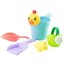 Summer Silicone Soft Baby Beach Toys Kids Mesh Bag Bath Play Set Beach Party Cart Ducks Bucket Sand Molds Tool Water Game 42H(China)