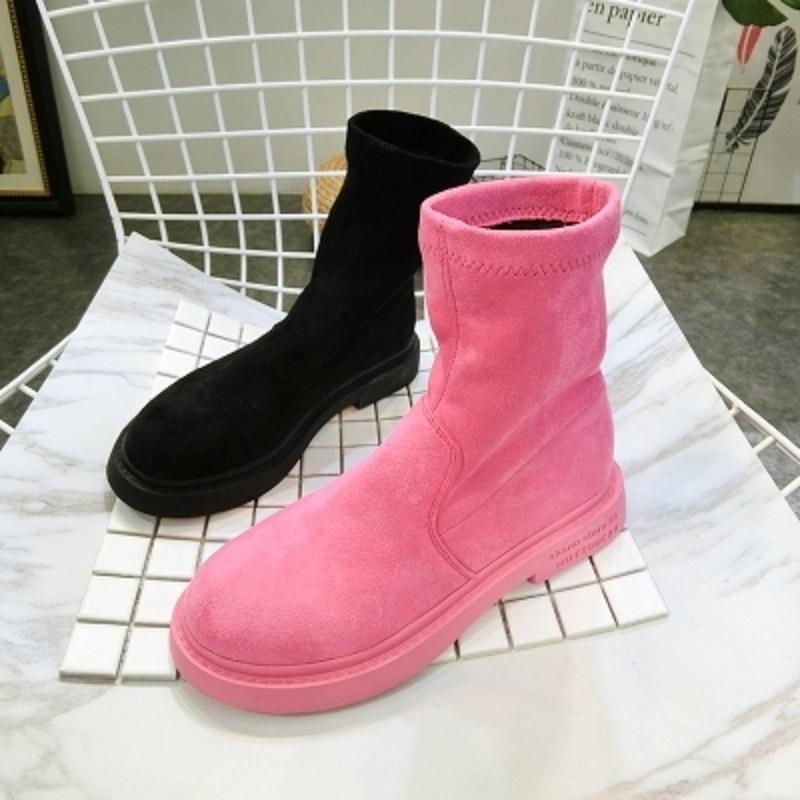 Automne nouveau daim tête ronde bottes courtes Martin bottes stretch tissu locomotive bottes chaussures plates rose poudre chaussures pour femmes