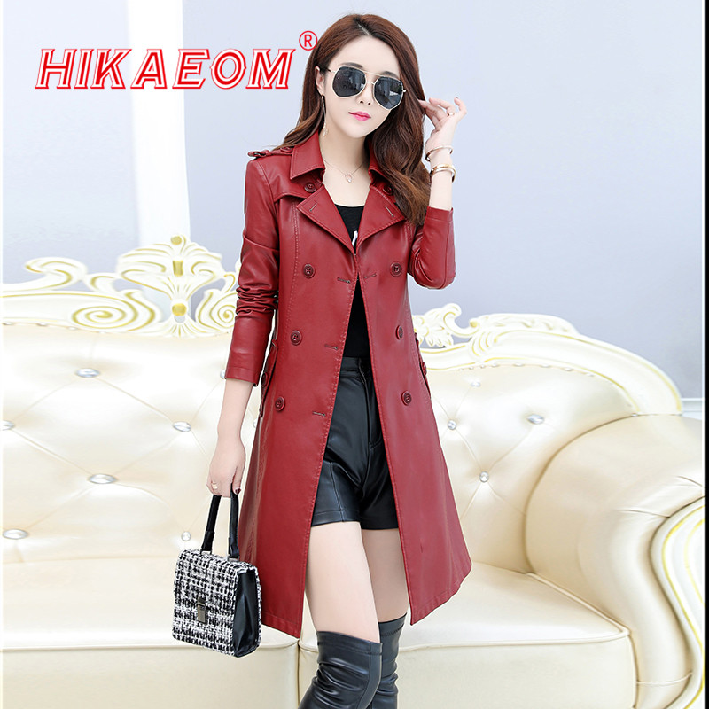New Autumn Winter Women   Leather   Jackets Double-breasted Coat Pu Faux   Leather   Jacket Medium Long Trench Coat Outwear Sales 2018