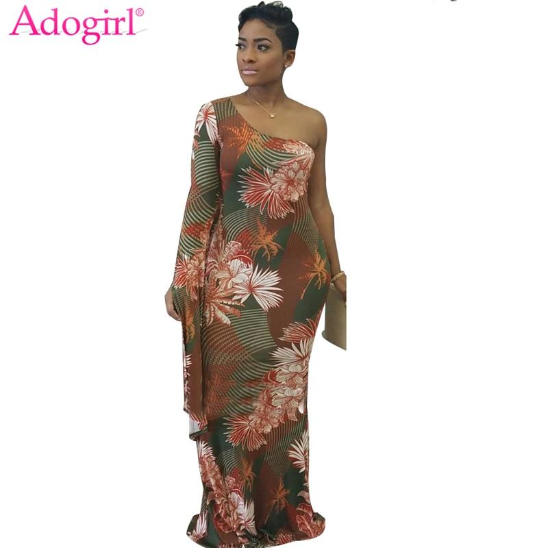 Adogirl 2018 Stylish Floral Print One Shoulder Long Sleeve Maxi Dress Plus  Size Women Elegant Bodycon 2be5ce136dba