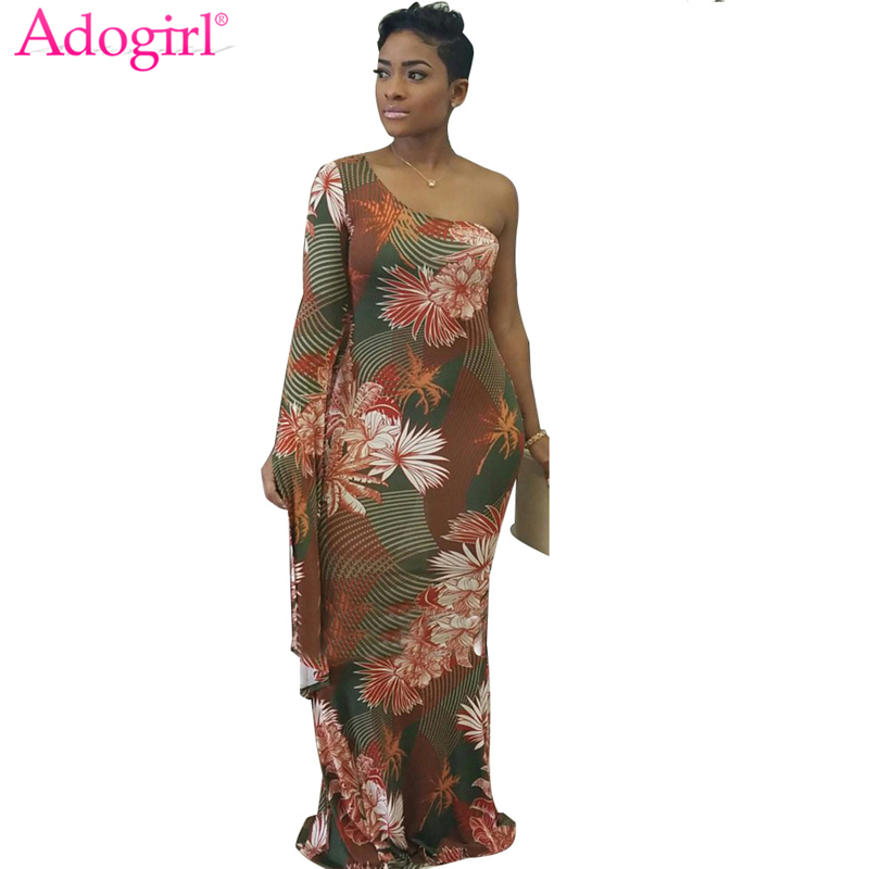 b1708805e5589 US $16.9 48% OFF|Adogirl 2018 Stylish Floral Print One Shoulder Long Sleeve  Maxi Dress Plus Size Women Elegant Bodycon Robe Evening Party Gown-in ...