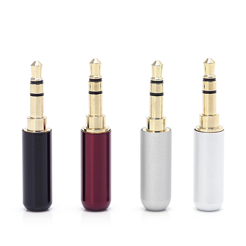 OOTDTY 4 Pcs 3 Pole 3.5mm White+Red+Black+Silver Audio Gold-Plated Headphone Plug RCA Connector Jack Stereo areyourshop sale 2pcs gold plated stereo 3 5mm 3 pole repair headphone jack plug cable audio adapter