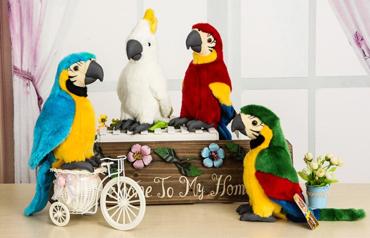 26cm Simulation Macaw Parrot Stuffed Animal Toys Soft Macaws Plush Toys White Birthday Gift Parrot Toy parrot pf562122