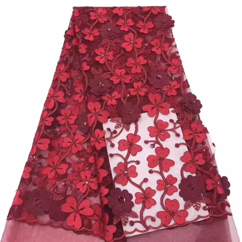 Luxurious And Latest Fashion African Lace Fabric Handmade 3D Big Flower African French Lace Fabric High Quality WeddingLuxurious And Latest Fashion African Lace Fabric Handmade 3D Big Flower African French Lace Fabric High Quality Wedding