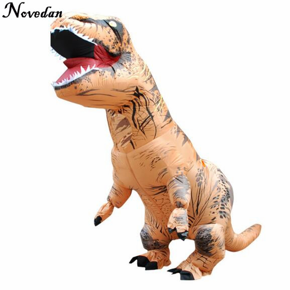 Purim Costumes Airblown Fan Operated T-Rex Inflatable Dinosaur Suit Outfit Party Halloween Costume For Kids Adult Dino Rider