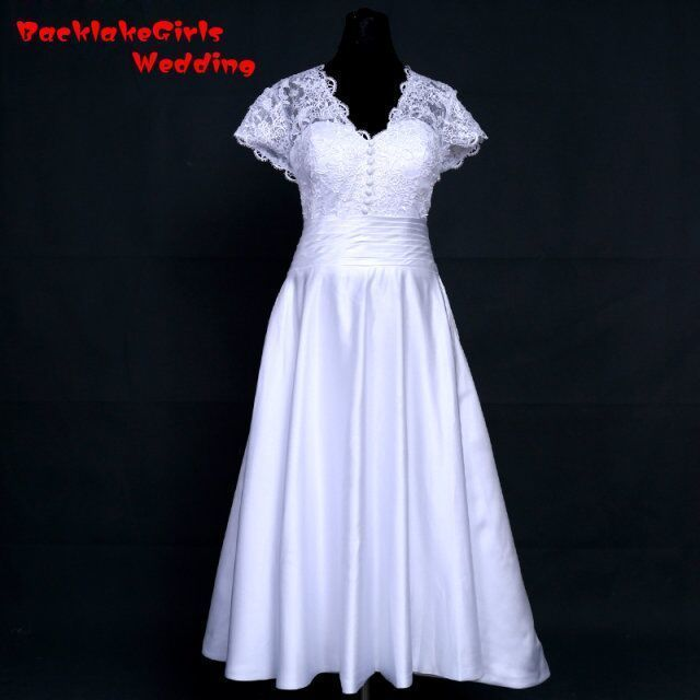 Backlake Spring Summer Lace Satin Bridal Gown Beautiful Short Sleeves With Liques Beading Tea Length