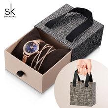 Shengke Rose Gold Women Crystal Set Luxury Quartz Clock Ladies Bracelet Watches Set 2019 New SK Womens Day Gift For Women
