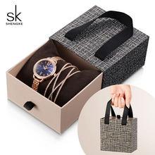 Shengke Rose Gold Women Crystal Set Luxury Quartz Clock Ladies Bracelet Watches Set 2019 New SK Women's Day Gift For Women