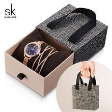 Shengke Rose Gold Women Crystal Set Luxury Quartz Clock Ladies Bracelet