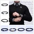 men jewelry watch accessory black gun Plated Metal charm Pave CZ Zircon  8mm Matte Agate Beads beaded Bracelet