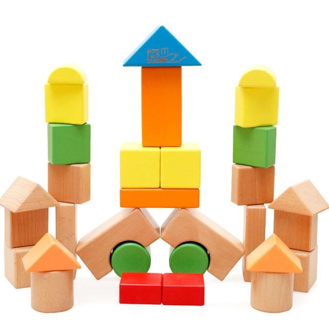 32 Pieces Multicolor Wood Building Blocks Child Educational Toys