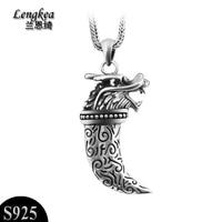 Бесплатная доставка, высокое качество, мужская Прохладный 925 тайский серебряный шип ожерелье кулон мужской ожерелье Модные Винтажные Аксес