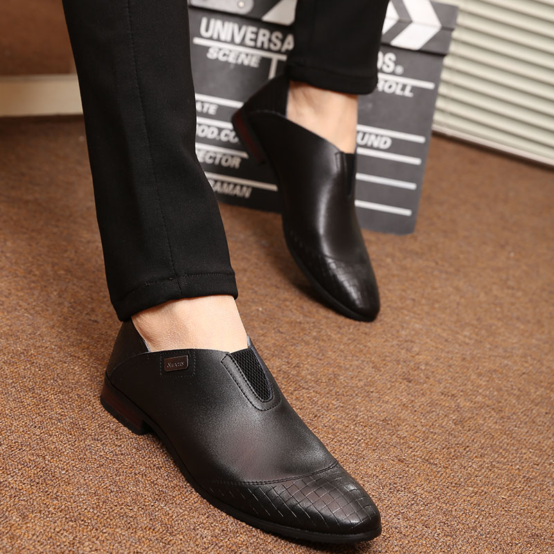 2016 New Men Leather Shoes Fashion Korea Men Loafers Comfortable Pointed Toe Business Shoes Black Men Dress Shoes Soft Men Shoes choudory new winter men ankle italian shoes men leather shoes pointed toe mens black dress shoes sequined toe spiked loafers men