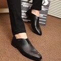 2016 Nuevos Hombres Zapatos de Cuero de Moda de Corea Hombres Holgazanes Cómodos Dedo Del Pie puntiagudo Zapatos de Los Hombres Negros de Vestir de Negocios Zapatos de Los Hombres Suaves zapatos