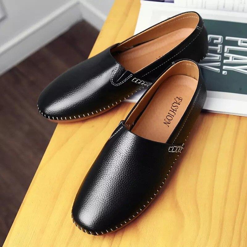 Mode Slip blanc Foncé Plat Chaussures kaki Printemps Autumm Noir Mocassins Sur Solide Hommes Conduite Concise wO0nPk
