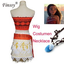 2017 Princess Moana Costume for Kids Girls Dress Moana Christmas Halloween Costume for Women Adult Cosplay Necklace Wig Skirt