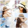 2015 Новая Мода Шляпа Солнца женщин Летом Складной Соломенные Шляпы Для Женщин Пляж Головные Уборы 2 Цветов Высокое Качество Оптовой