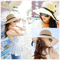 2015 New Fashion Sun Hat Women's Summer Foldable Straw Hats For Women Beach Headwear 2 Colors Top Quality Wholesale