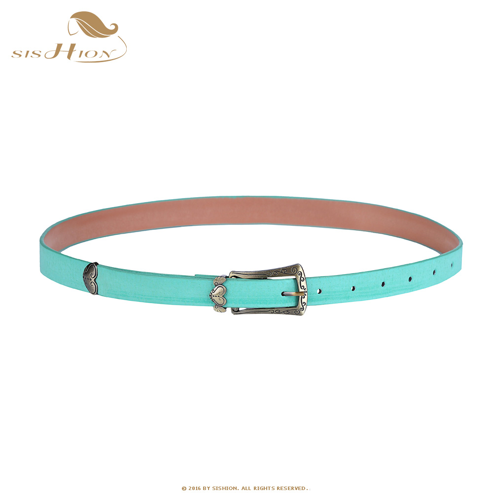 SISHION Retro Vintage Style Women Casual Thin Belt Green Blue Strap Leather Waist Belt Waistband For Apparel Accessories VB0010