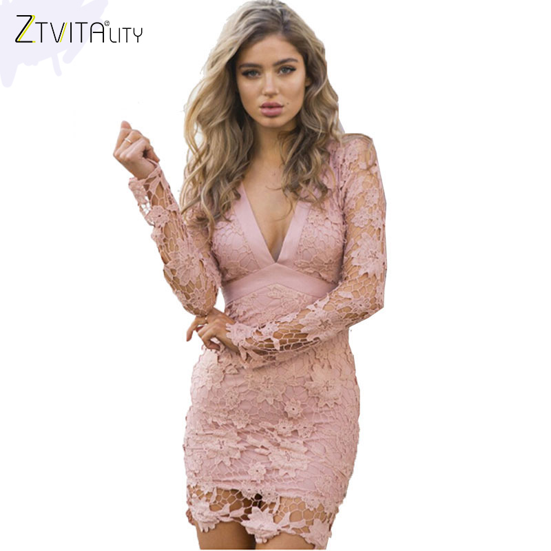 ZTVitality 2018 New Fashion Summer Women Dress Long Sleeve Backless Solid Lace Patchwork Mini Party Dresses Slim Sexy Vestidos