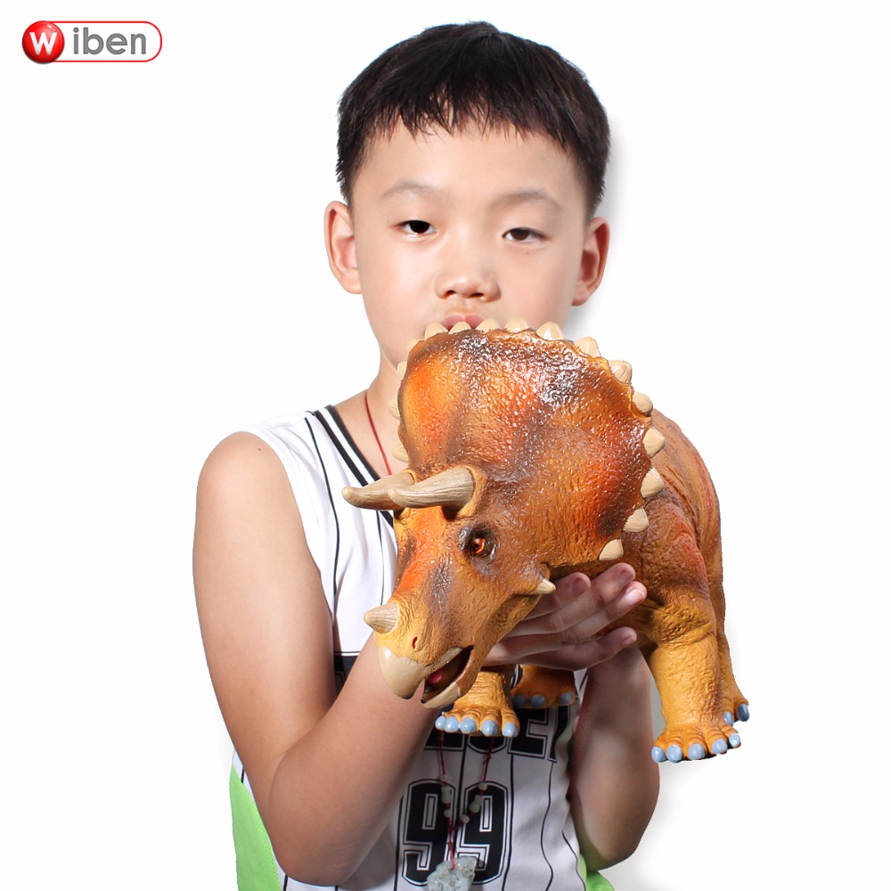 лучшая цена Jurassic Big Dinosaur Toy Triceratops Soft Plastic Animal Model Action & Toy Figures Kids Toys Gift