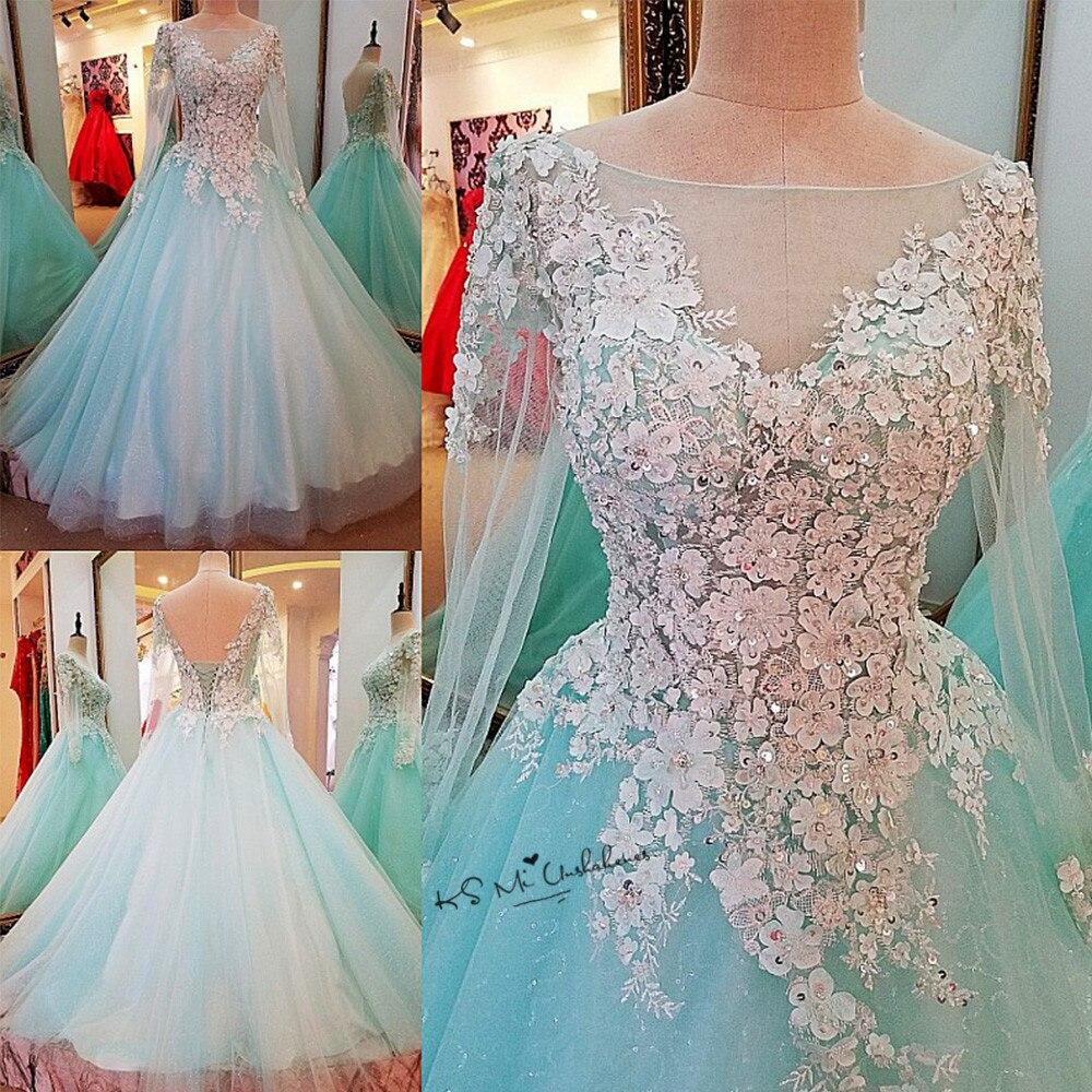 Vestido de Noiva Manga Longa Mint Green Vintage Wedding Dress 3D ...