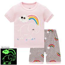 Летняя Детская мультяшная Пижама со слоном для девочек милая