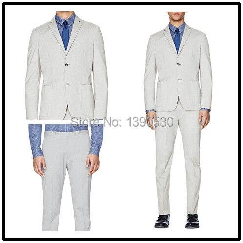 Top qualité 100% laine gris clair encoche revers unique évent patch poche deux pièces manteau pantalon hommes costume!!