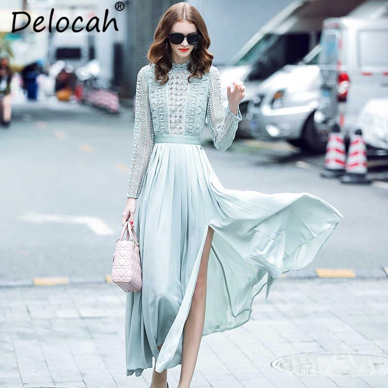 Delocah סתיו נשים שמלת מסלול אופנה מעצב ארוך שרוול מדהים חלול החוצה אלגנטי אחוי Slim ארוך ליידי שמלות
